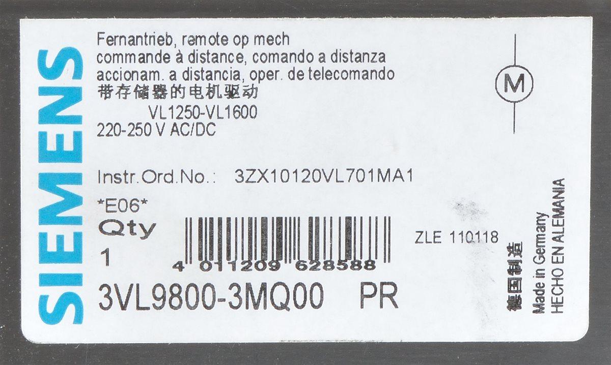 siemens 3vl9800 3mq00 accionamiento a distancia para vl1250 vl1600 ebay. Black Bedroom Furniture Sets. Home Design Ideas